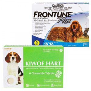 キウォフハートとフロントラインプラス中型犬用