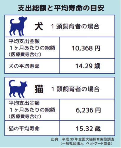 ペットの費用と平均寿命
